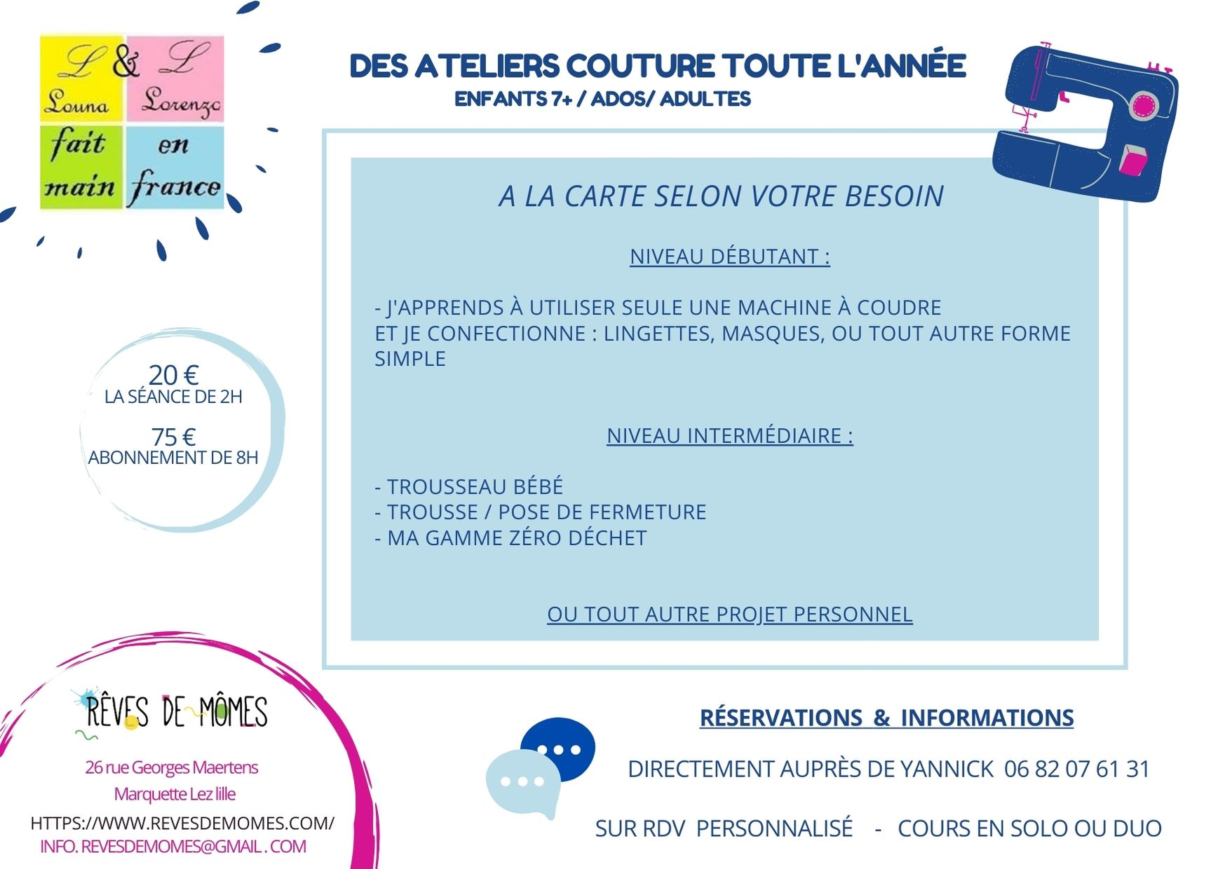 Ateliers créatifs couture reves momes craienco nord diy